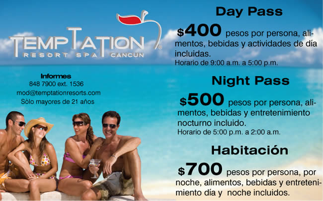 Promotion Temptation sexiest adult resort daypass Los Cabos Cancun